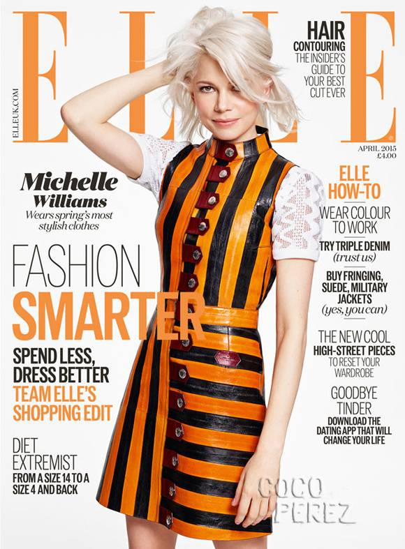 Michelle Williams in yellow and black striped on ELLE uk april 2015 cover