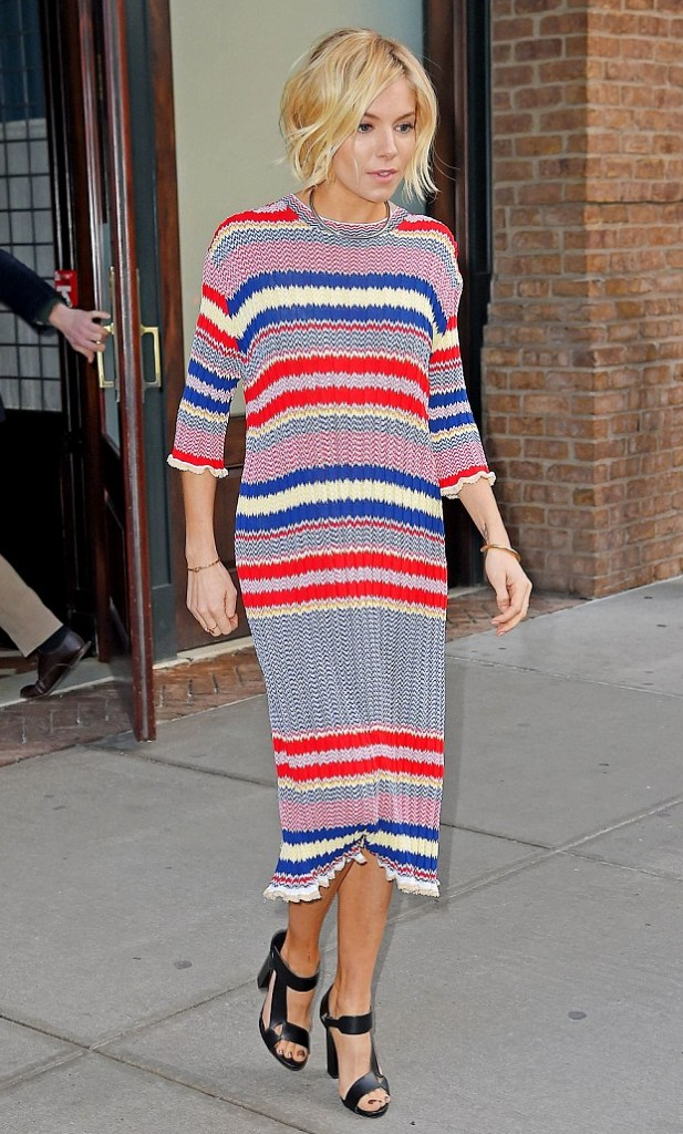 Sienna Miller is living her life in coloured stripes and turns heads