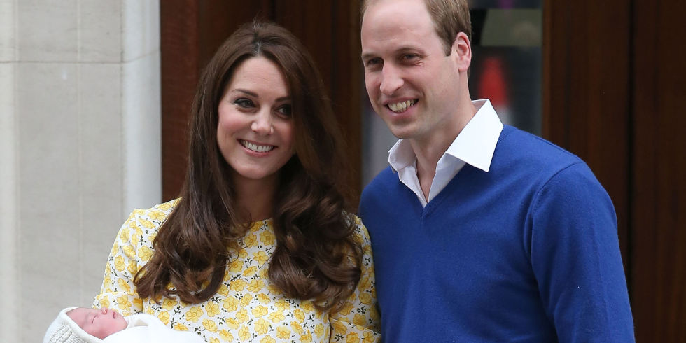 The Duke and Duchess of Cambridge with their baby girl emerge from St Mary's hospital in London
