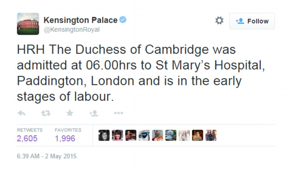 Thoroughly_modern_birth- The news was tweeted by Kensington Palace