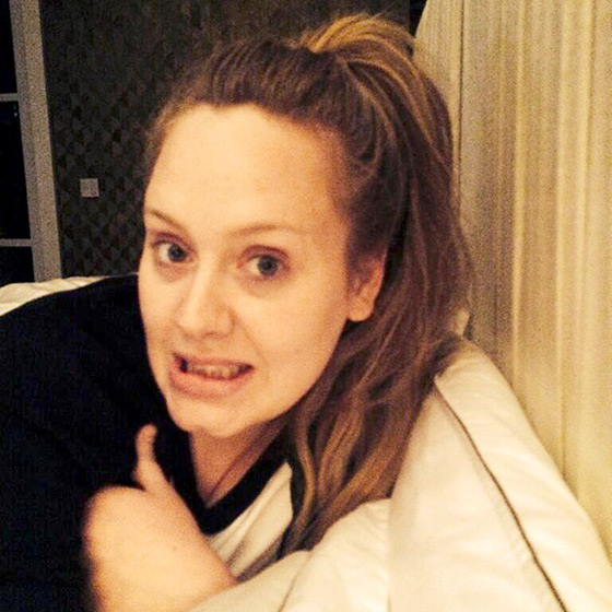 Adele celebrated her 26th birthday with a makeup-free picture on Twitter