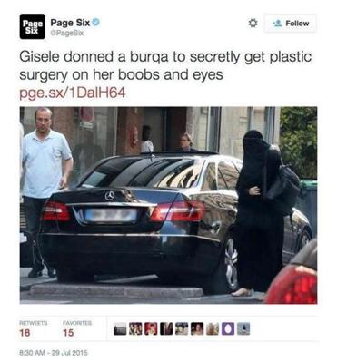 Gisele Bundchen wearing a burqa- picture tweeted by the New York Post