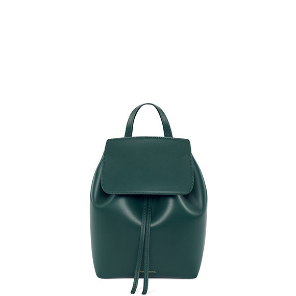 Mansur Gavriel backpack, green, $585, modaoperandi.com.