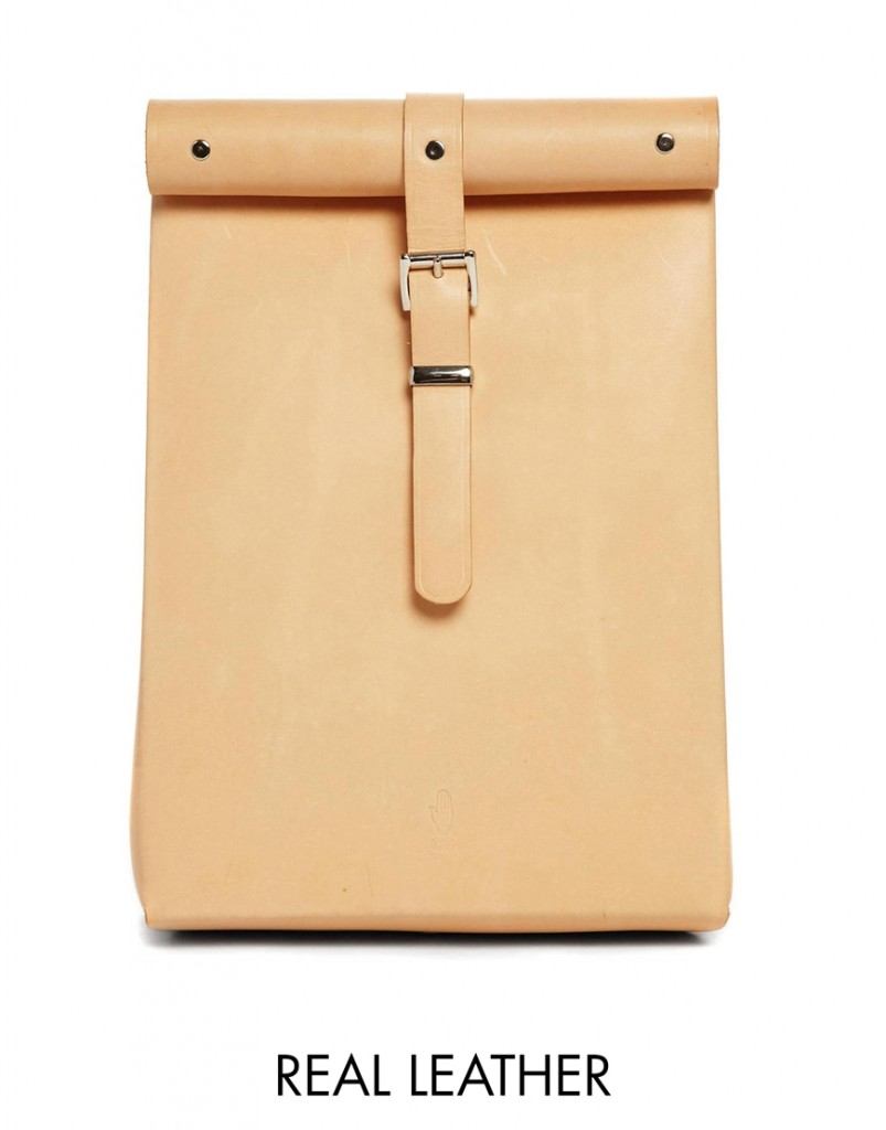 Chloe Stanyon Roll Top Leather Backpack in Natural $226.00, asos.com