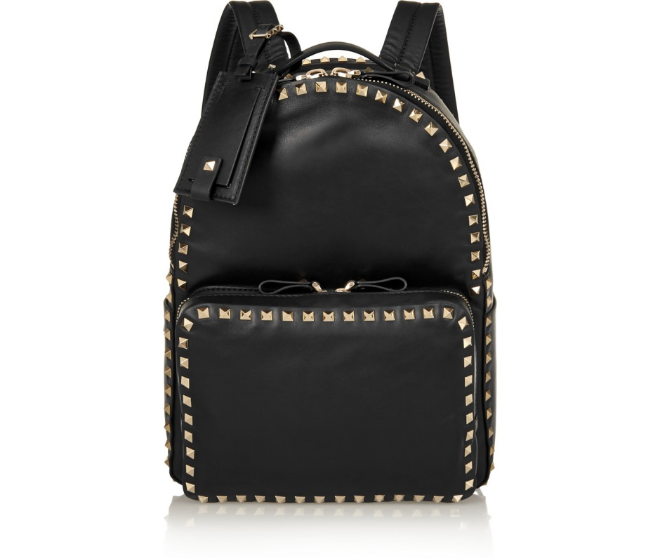 Valentino Rockstud black leather backpack