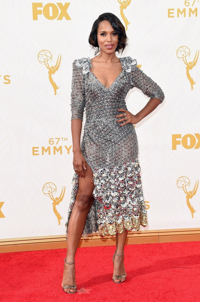Kerry Washington wearing a Marc Jacobs dress, Casadei shoes and Harry Winston jewelry