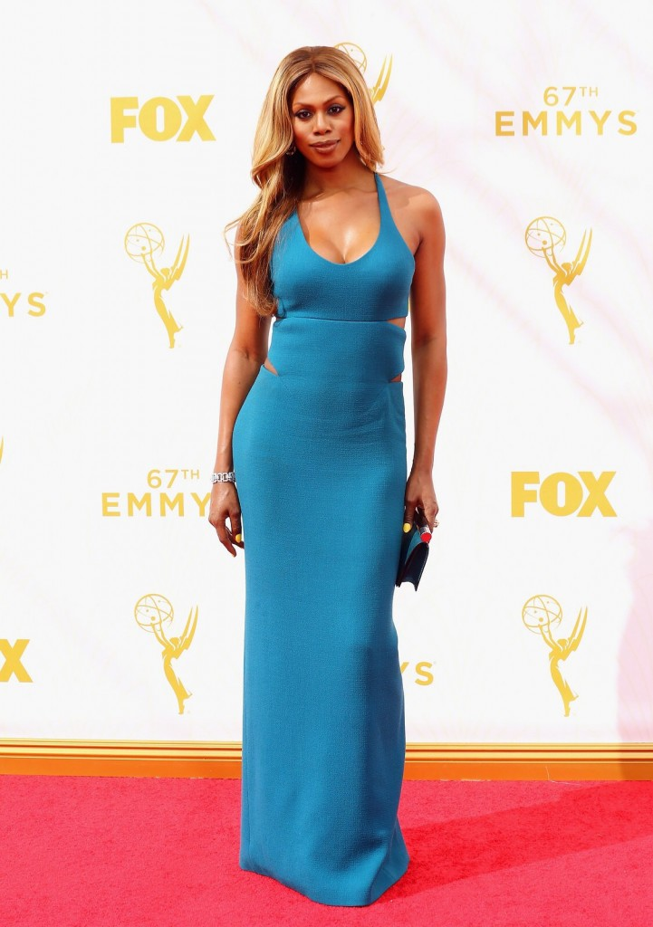 Laverne Cox in a Calvin Klein Collection dress and in Fred Leighton jewelry