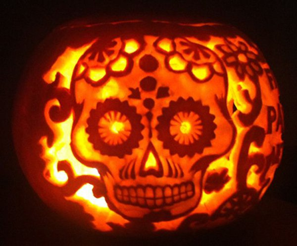Flower Skeleton Pumpkin for Halloween