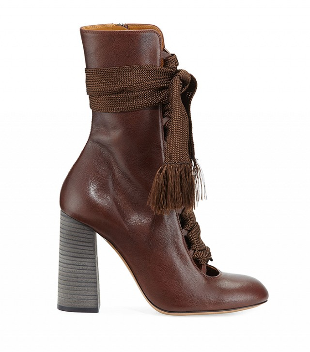 Chloe Leather Lace-Up Ankle Boots 75