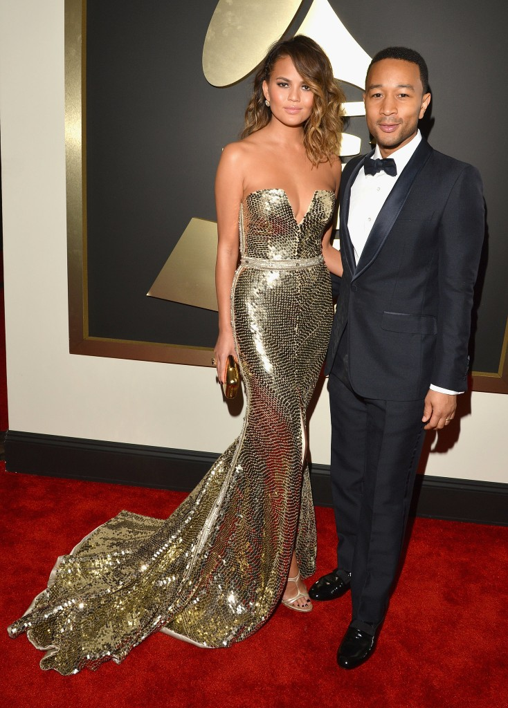 Chrissy Teigen and John Legend 2014 Grammy Awards