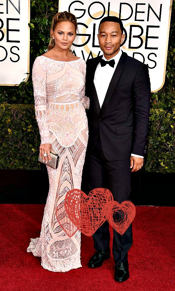 Chrissy Teigen and John Legend Golden Globes 2015 red carpet
