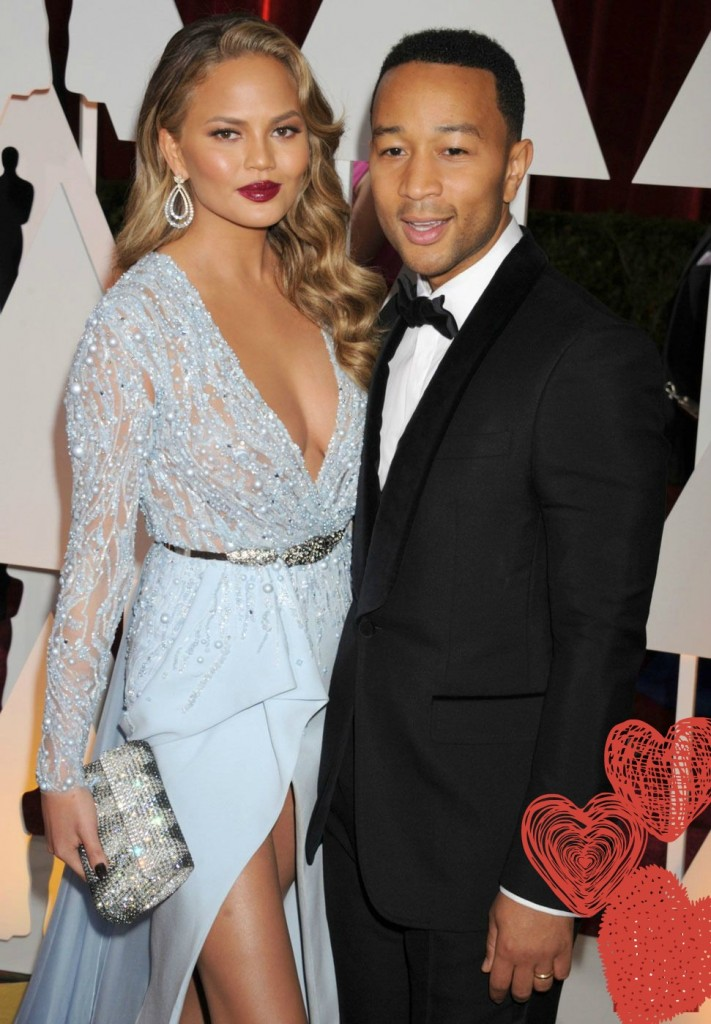 Chrissy Teigen and John Legend Oscars 2015 Awards- Zuhair Murad Couture (1)
