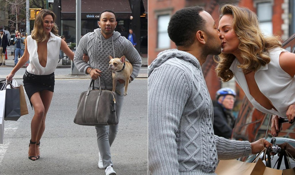 Chrissy Teigen and John Legend during a photo shoot