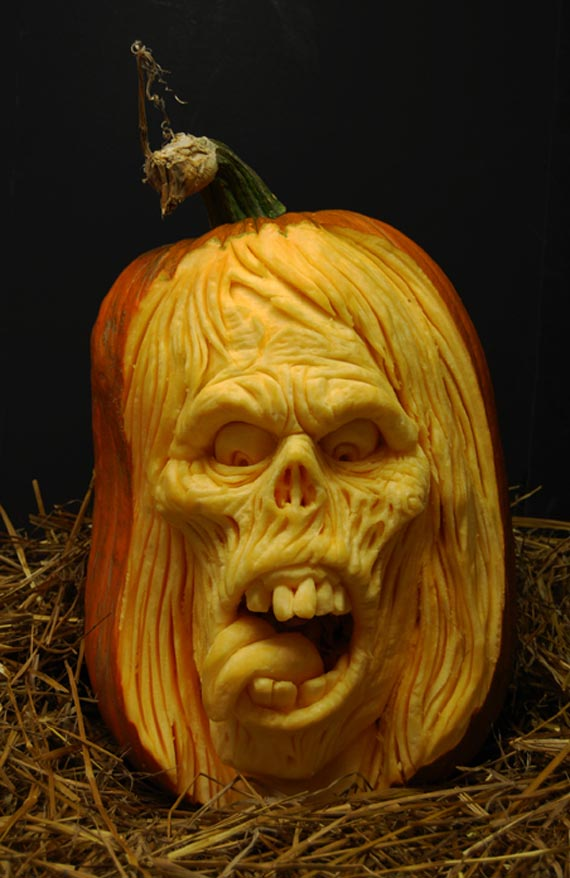 Zombie Pumpkin Carving for Halloween