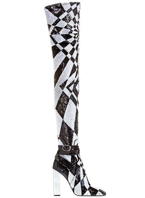 Emilio Pucci Black and white sequin-embroidered thigh high boots €4,750