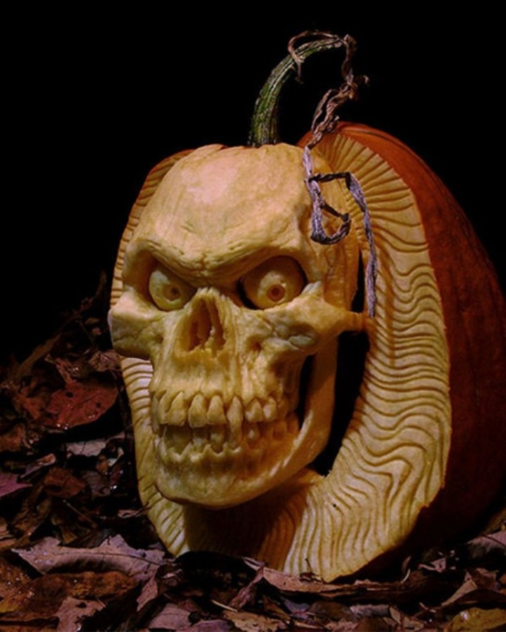 Skeleton Halloween Pumpkin Carving Ideas