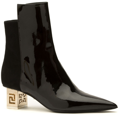Versace-Greek patent leahter and suede boots with golden metal heels, €870