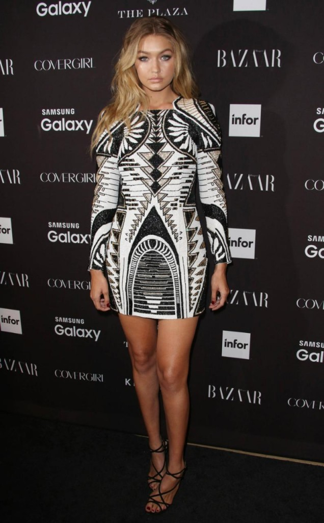 Gigi Hadid in H&M x Balmain Limited Edition Embellished dress £399.99