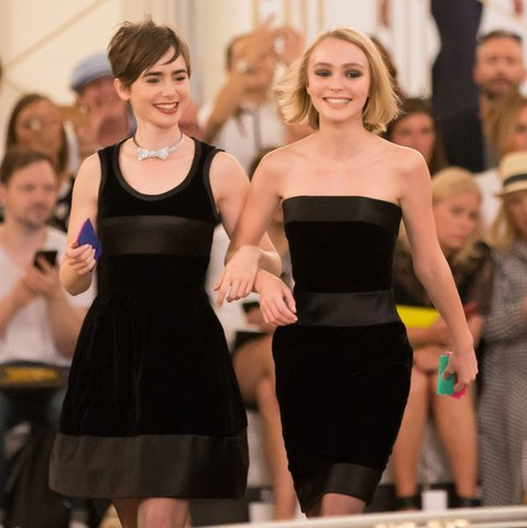 Lily-Rose Depp and Lily Collins at the Chanel Show