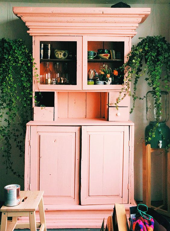 pink wooden cupboard
