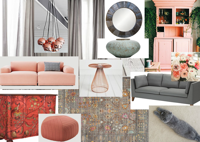 Grey and Soft Pink Living Room Moodboard The Artistic Soul