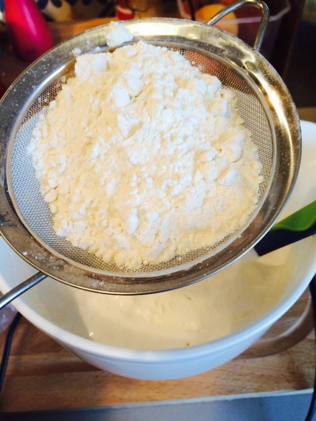 Add the flour a couple of tablespoons at a time